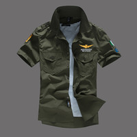 Wholesale clothes single resale online - Mens Pilot Shirts Short Sleeved Casual Shirts Turn Down Collar MA1 Plane Tops Fashion Tees Clothing