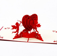 Wholesale Pop Up Love Cards - Paper Laser Cut Cupid Love Heart 3D laser cut Greeting Card Pop Up Cards Postcards Wedding Invitations Valentine's Day Gift