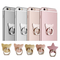 Wholesale Cute Cellphone Holder - Cellphone holder finger Grip metal Cute Cat Phone Stent 360 Degree Stand Fit for all Smart phone with retail package