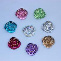 acryl rosenblüten perlen großhandel-100 STÜCKE 15mm Acryl blumen flatback Perlen Acryl Strass rose blume bead Handwerk Dekoration DIY 15mm ZZ110