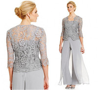 Wholesale Jackets For Chiffon Wedding Gowns - Silver Chiffon Mother of the Bridal Groom Pant Suits for Wedding Party Custom Made Garden Lace with Jacket Formal Gowns 2018