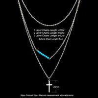 Wholesale Christian Jewelry For Women - Summer Style Boho Silver Plated Chain Cross Necklaces Statement Chain Coin turquoise Bead Multilayer Necklace Christian Jewelry For Women