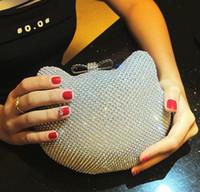 elmas şekilli kristaller toptan satış-Altın Gümüş Tam Yan Elmas Debriyaj Akşam Çanta Güzel Ilmek Hasp Kristal Hello Kitty Şekil Debriyaj Çanta Omuz çantası