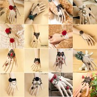 Wholesale Vintage Lace Bracelet Ring - 2016 New Pandora Rose One Piece Women Bracelet + Ring Vintage Gothic Lace Flower + Bronze Alloy Bracelets Fashion Prom Party Jewelry