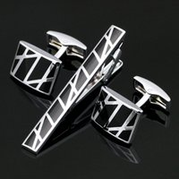 Wholesale Tie Clip Cufflink Boxes - Stainless Steel Black Cufflinks and Tie Clip Clasp Bar Set Gift Box Free Shipping For Men Gift French Shirt High Quality Z-015