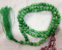 Wholesale Green New Jade Beads - 2016 hot buy pearl jade bracelet ring earring necklace Pendant >>>New 8mm Natural Green Jade Tibet Buddhist beliefs 108 Prayer Bead Necklace