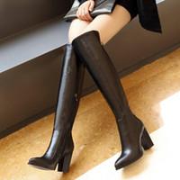 botas de cuero sobre la rodilla venta al por mayor-alta calidad ~ venta! b062 34 cuero genuino negro puntiagudo sobre rodillas muslo botas altas talón
