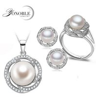 Wholesale Beaded Luxury Ring - Wedding freshwater pearl jewelry sets women bridesmaid jewelry sets luxury natural pearl earrings sets ring fine jewelry