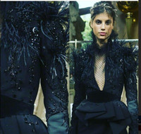 Wholesale Kim Kardashian Plus Size Evening Gowns - Evening dress Yousef aljasmi Kim kardashian Long sleeve V-Neck Feather Black Almoda gianninaazar Zuhair murad