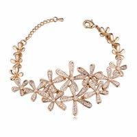 Wholesale Gold Crystal Snowflake Charm - Wholesale- Cute Snowflake Bohemian Bracelet with Rhinestones Austrian Crystal bracelets Bijoux Chain Charm Jewelry