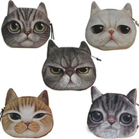 Wholesale Novelty Credit Card Case - Novelty Girl 2015 Brand New Fashion Cartoon Cute Cat Face Zipper Case Coin Case Purse Wallet Makeup Buggy Bag Pouch