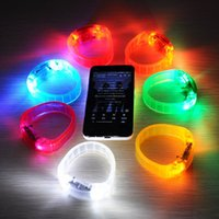 Wholesale Led Novelty Light Hands - Novelty LED Glow Wristband Voice Control Wrist Band Flashing Arm Band Silicone Bracelet LED Luminous Hand Ring Party Disco Christmas Light