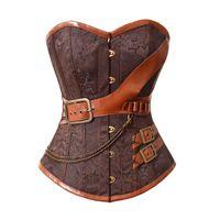 Wholesale Steel Breast Belt - Plus size 6XL 2016 Corselet Sexy Lingerie Women Corset Overbust waist trainer Brown Breast Binder Steel Bone Steampunk Belt cinta modeladora