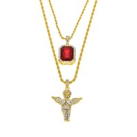 Wholesale Mens Jewelry Wings - Mens Iced Out Ruby Jewelry Necklaces Set Brand Micro Ruby Angel esus Wing Pendant Hip Hop Necklace Male Wholesale