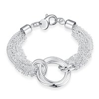 Wholesale Silver Rolo Bracelet Chain - Vogue shining Multi-line Three circles Bracelet simple silver ROLO style Lobster Clasps Chain Bracelet Christmas Gift 8 inches on wholesale