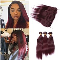 Wholesale 99j hair color weave - Virgin Brazilian Wine Red Human Hair Bundles with Lace Frontal Closure Silky Straight #99J Burgundy Ear to Ear 13x4 Lace Frontal with Weaves