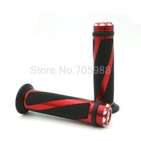 Wholesale Red Hand Grip Motorcycle - Motorcycle Grips Aluminum & Rubber 7 8'' CNC Handle Bar Hand Grips BLACK & RED 22MM MOTOR Grips