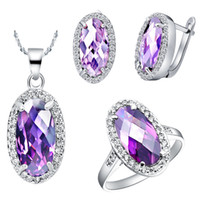 Wholesale Purple Oval Silver Ring - 18K White Gold Plated Silver Jewelry Set Love Oval Purple Stone Zircon Finger Ring Amethyst Necklace Crystal Stud Earrings Wedding Jewelry