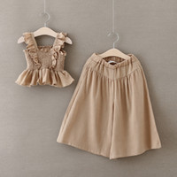 Wholesale Loose Tanks For Girls - Girls Clothing Set 2016 Summer Fashion Cotton Ruffled Flare Tank Tops+Wide Loose Leg Pants Suit Kids Clothes Set for Girls T806