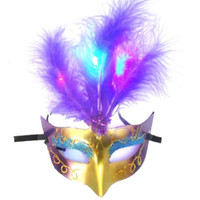 Wholesale Horror Paper Mask - Light feather mask masquerade mask bar Halloween mask street source of wholesale toys for children