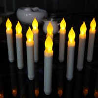 Wholesale Wholesale Plastic Flameless Candles - Yellow Flicker Long Plastic LED Candles Battery Operated Flameless Decorative Candles For Dinner Restaurant Christmas Decoration YYA782