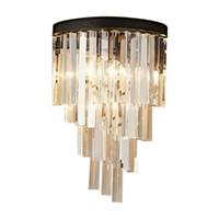 apliques de baño accesorios de iluminación al por mayor-Lámparas de pared de cristal modernas Accesorios de luces LED Iluminación de la casa de cristal para el baño Dormitorio principal Apliques de pared de cristal Lámpara E14