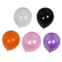 розовые фиолетовые белые шары оптовых-100/шт. желтый черный белый розовый фиолетовый цвет Хэллоуин воздушный шар место проведения украшения расположение фестиваль баллон