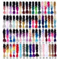 afrika saç örgüleri toptan satış-Mtmei Saç 24 Inç 100 g / paket Sentetik Jumbo Örgüler saç Ombre Tığ Örgü Saç Uzantıları Afrika Saç modeli