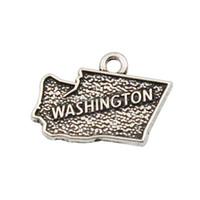 gros talon en gros achat en gros de-Mode Alliage États américains Carte Charms Vintage Washington Forme Carte Accessoires Charmes AAC032