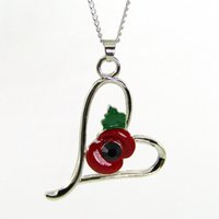Wholesale Black Crystal Heart Pendant Necklace - Latest Alloy Flower Love Heart Necklace Fashion Green And Red Enamel Black Crystal Pendant Poppy Necklace From China