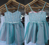 robe verte robe fille fleur achat en gros de-Beautiful Pink Green Spaghetti Straps Crystal Beading Adorable sans manches A-ligne Little Girl Robes de bal Flower Girl Pageant Robes