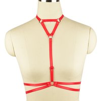Wholesale White Catsuit Women - Choker V-neck Body Harness Bra Bondage Lingerie elastic Crop Top Festival Clothing Sexy Harness Women Summer Burlesque Wear Strappy Tops