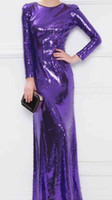 Wholesale Long Evening Classy Dresses - 2017 New Purple Evening Dresses Classy Jew Long Sleeve Evening Gowns Sequin Floor Length Sheath Formal Party Prom Gowns Hot Sale Custom made