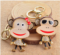 Wholesale Cartoon Couple Korea - Korea Creative Diamond Mascot Cartoon Monkey Lovers Couples keychains Birthday Valentine's day Christmas Wedding Gifts Car Bag Pendants