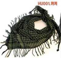 Wholesale-New Design Hot Fashion Unisex 14 cores Mulheres Men Checkered Arab Grid Neck Keffiyeh Palestina Scarf Wrap Shawl Exército verde