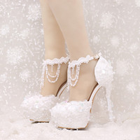 Wholesale White Prom Shoes Beading - New Design Ankle Strap Heels White and Red Lace Bridal Dress Shoes Beautiful Beading Straps Wedding Shoes Women Party Prom Pumps