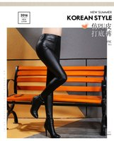 Wholesale Imitation Leather Capris - Spring and summer leather leggings thin stretch slim lady imitation leather pants, size nine pants jeans