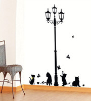 Cartoon Cats Under the Light Street Chaud Romantique Stickers Muraux Enfants Chambre bricolage Salon Home Decor mural Decal Petite Taille