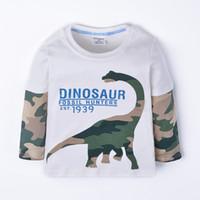 erkek uzun kol karikatür gömlek toptan satış-Funnygame17 YENI VARıŞ boys Çocuklar% 100% Pamuk Uzun Kollu o-boyun karikatür kamuflaj dinozor baskı T Shirt erkek ilkbahar sonbahar t gömlek