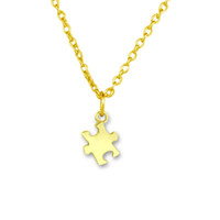 Wholesale Gold Puzzle Piece Charm - 2017 new trend necklace 30pcs Zinc Alloy Silver and Gold Puzzle Piece Infantile Autism Pendant Link Chain Ball Chain necklace