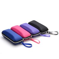 Wholesale Wholesale Crushed Glass - 4 color pressure-proof sunglasses case zipper crush resistance small glasses Protection box portable with lanyard