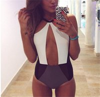 Wholesale one piece swimsuits womens swimwear online - onesie Swimwear Black And White Cut Out Explosion Models Womens Splicing Fitting Swimsuit Bikini Swimwear For Women Bikini Women Swimwear