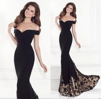 Wholesale Bamboo Tulle - 2016 New Black Word Shoulder Mermaid Prom Dresses Beaded Embroidery Long Section Trailing Party Gown Perfect Body Officially Evening Dress