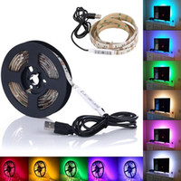 Wholesale background cool - 5V USB Cable LED Strip Light Lamp SMD3528 50cm 100cm 200cm Christmas Flexible Led Strip Light with Mini Controller TV Background Lighting