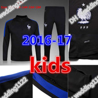 Wholesale Jacket Grey Boy - No zipper best quality kids sets 2017 18 France Football jacket tracksuit Netherlands de foot GRIEZMANN POGBA Giroud jacket Training suit