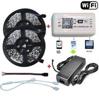 Wholesale Dimmer Adapter - 5M 10M 5050 300led RGB LED Strip Light 60Leds M DC12V Christmas Lights Tape+Wireless RGB WIFI Remote Dimmer Controller+5A 10A AC DC Adapter