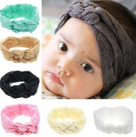 Wholesale Elastic Ribbon Braided - Baby Lace Headbands Girls Hair Braided Childrens Safely Cross Knot Hair Accessories Head Wrap Lovely Infant Elastic Headband Headwraps 1562