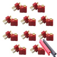 Wholesale T Plug Male Wire - 20pcs (10pairs) Anti-skidding Deans Plug T Style Connector Female   Male for RC Battery ESC
