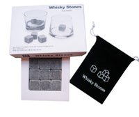 9pcs Set Whisky Stones Chilling Rocks Cubes em Gift Box l Whisky Ice Cubes Cooler Stone Wine Beer Cooling Whisky Rock Cooler KKA2907