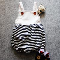 Wholesale Girls Lace Body Suit - INS Baby stripe romper infant onesies jumpsuits body suits strap jumper Lace Camisole Leotard vest romper